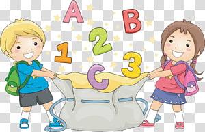 menino e menina, segurando a ilustração de saco de cordão, escola infantil, crianças farra PNG clipart
