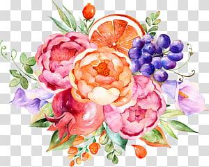 Flor Fruta Pintura em aquarela, Aquarela decoração floral, pintura de flores e frutos png