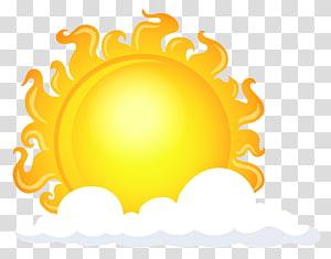 sol atrás de ilustração de nuvens, céu de tempo de nuvem, sol com nuvens PNG clipart