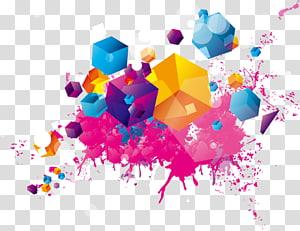 ilustração simétrica multicolorida, ilustração de pintura em aquarela, padrão de tinta colorida PNG clipart