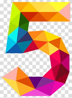 Número, triângulos coloridos número cinco, amarelo, azul e roxo 5 letra PNG clipart