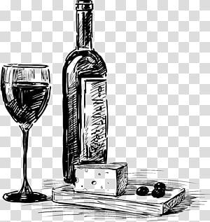 Garrafa de happy hour de vinho cerveja uva vinha Happy-hour, material de bebidas esboço mão desenhada png