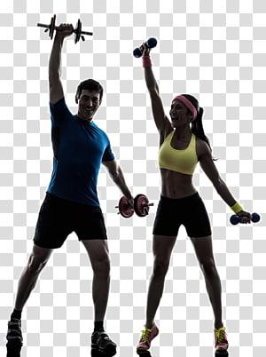homem e mulher, segurando halteres, aptidão física, exercício físico, treinador pessoal, treinador silhueta, movimento fitness png