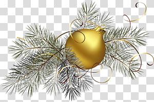 ilustração de latão bugiganga, enfeite de Natal ouro, bola de Natal de ouro com pinheiros PNG clipart