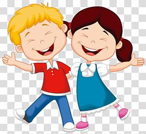 Ilustração de criança dos desenhos animados, criança, ilustração de menino e menina a sorrir PNG clipart