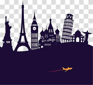 silhueta da ilustração da torre Eiffeil, site de viagens de turismo de agente de viagens, material de férias de pontos de referência PNG clipart