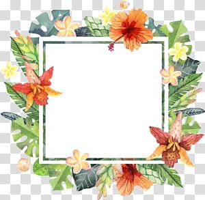 Arquivo de computador, aquarela mão pintada borda floral verão, armação de borda floral verde e marrom PNG clipart