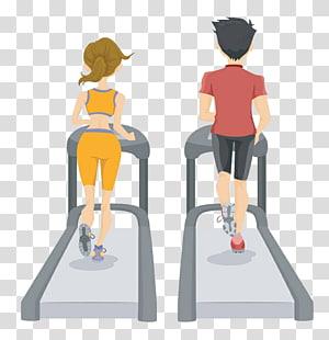 homem e mulher usando esteira, saúde Perda de peso Ilustração de aptidão física, esteira desenhada mão homens e mulheres png