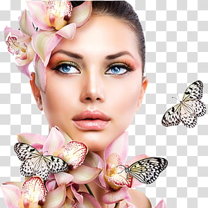 mulher vestindo flor cabeça decoração com borboletas, salão de beleza cosméticos dia spa pedicure, beleza PNG clipart
