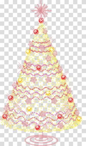Ilustração da árvore de Natal iluminada, Árvore de Natal artificial da Califórnia Dia de Natal, Árvore de Natal grande com ornamentos de ouro PNG clipart