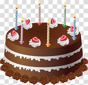 Bolo de chocolate com velas, Bolo de aniversário Bolo de chocolate Cupcake, Bolo de chocolate png