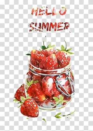vasilha clara com ilustração de morangos, milkshake aquarela pintura comida desenho, tentador morango png