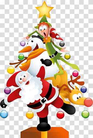 Santa Claus Christmas tree Dia de Natal, árvore de Natal engraçada, ilustração de Papai Noel PNG clipart