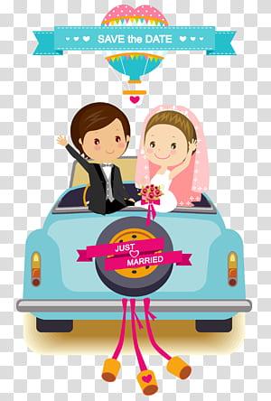 Convite de casamento Noivo dos desenhos animados, Material de fundo de carro de casamento dos desenhos animados, ilustração de noivos PNG clipart