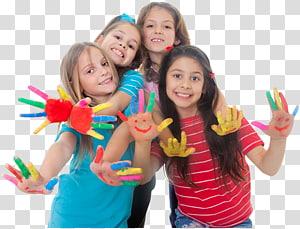 Pintura de felicidade de criança brincar, crianças, quatro meninas sorridentes em pé com mostrando as mãos pintadas PNG clipart
