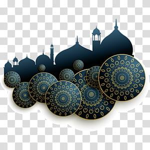 Arquitetura islâmica, ilustração abstrata de arquitetura islâmica requintado, silhouttes azuis e marrons da ilustração de Mesquita PNG clipart