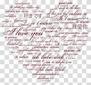 nuvem de palavra coração vermelho, frase de idioma do amor tradução árabe, coração internacional amor PNG clipart