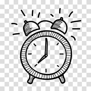 Despertador Desenho, alarme preto e branco desenhado à mão png