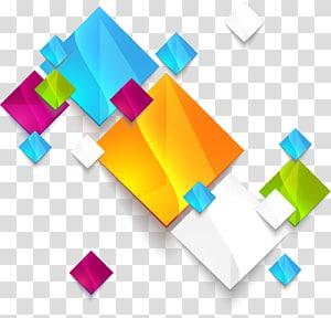 ilustração de arte abstrata de geometria, quadrados geométricos abstratos coloridos, obras de arte gráfica multicolorida PNG clipart
