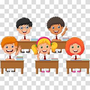 ilustração animada de crianças na escola, estudante, ilustrações de desenhos animados de classe de crianças PNG clipart