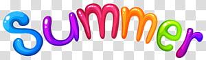 Verão, verão, texto 3D de verão multicolorido png