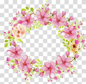 Convite de casamento flor rosa, rosa aquarela pintada à mão anel floral flor rattan fronteira, ilustração de flores rosa e verde png