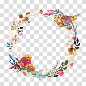 arte finala floral da grinalda, convite do casamento Grinalda euclidiana da flor, ninho de amor PNG clipart