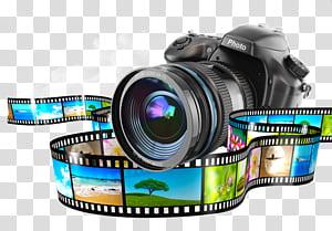 Câmera Monopod, câmera DSLR preta PNG clipart