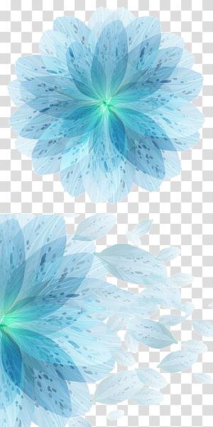 Flor azul euclidiana, flores azuis sinfonia, colagem de flores azuis PNG clipart