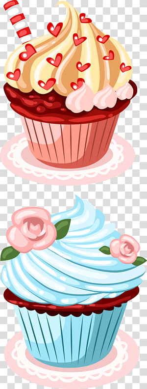 dois cupcakes de sabor variado, Cupcake Birthday cake Greeting Card Wish, Cupcake design png
