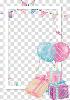 Presente de balão, borda de balão de caixa de presente em aquarela, ilustração com tema de festa png