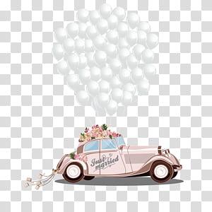 desenhos animados do noivo da união do convite do casamento, carro romântico do casamento, carro marrom e ilustração do balão png