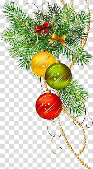 Enfeite de Natal ícone, três bolas de Natal com galho de pinheiro, decoração de enfeites PNG clipart