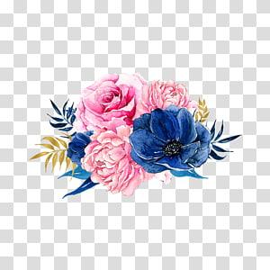 Flores cor de rosa azul, flores, ilustração de flor rosa e azul png
