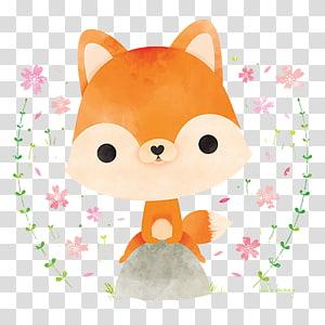 ilustração de raposa laranja, raposa vermelha japonesa Ilustração de coelho, raposa fofa de aquarela pintada à mão. png