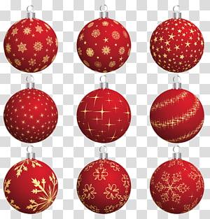 nove enfeites de Natal vermelhos, Papai Noel enfeite de ano novo, grande coleção de bolas de Natal vermelha png