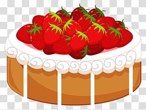 Ilustração de bolo de morango redondo, Bolo de morango Bolo de aniversário Confeiteiro, Bolo com morangos png