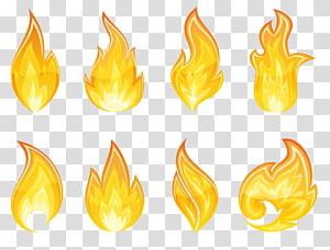 Ícone de chama, conjunto de chamas, ilustração de oito chamas PNG clipart