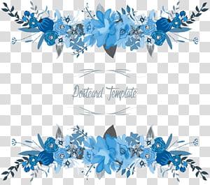 Modelo de cartão postal floral - borda floral, azul e branco de flores PNG clipart