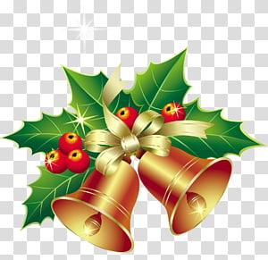 Christmas Bells: A Novel A Christmas Carol Ouvi os sinos no dia de Natal, sinos de Natal com ornamento de visco, etiqueta de sino de Natal png