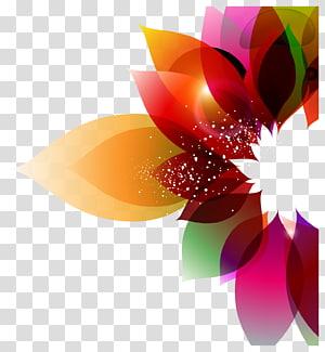 Cor Flor Arte abstrata Design floral, Fundo colorido floral, ilustração de folhas de cores sortidas PNG clipart