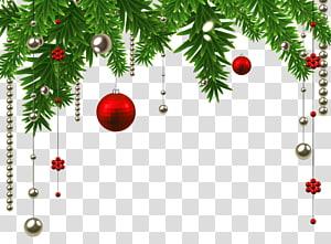 Decoração de natal Enfeite de natal Árvore de Natal, decoração de bola de suspensão de Natal, ilustração de bugiganga vermelha e prata PNG clipart