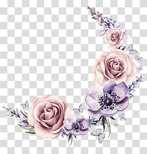 Flor desenho ilustração Cartoon, grinalda de aquarela pintada, flores cor de rosa e roxas PNG clipart
