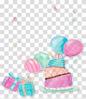 Presente de bolo de festa de aniversário, festa de bolo bonito pintado à mão, bolo e ilustração de balão PNG clipart