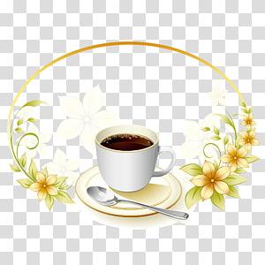 xícara de chá branca e ilustração de colher de prata, café chá café menu, café de fundo png