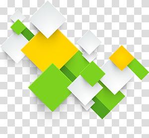 ilustração da caixa branca, verde e amarela, Quadrado de impressão, quadrados geométricos abstratos tridimensionais PNG clipart