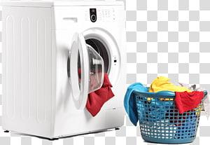 máquina de lavar roupa com abertura frontal branca e um sortido de roupas, Lavanderia Limpeza a seco Edredão de Roupa, Serviço de Lavanderia PNG clipart