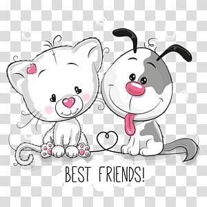 Relação cão-gato Filhote de cachorro, animal dos desenhos animados, cachorro cinza e ilustração de gato branco PNG clipart