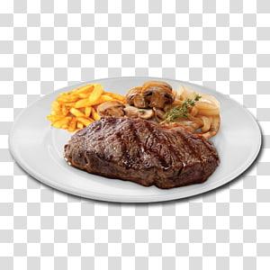 carne grelhada em chapa branca, bife do lombo batatas fritas Rosbife Churrasco, tira PNG clipart