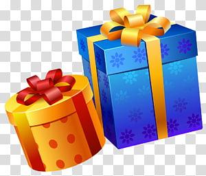 Presente de aniversário, caixas de presente amarelas azuis, duas caixas de presente laranja e azul PNG clipart